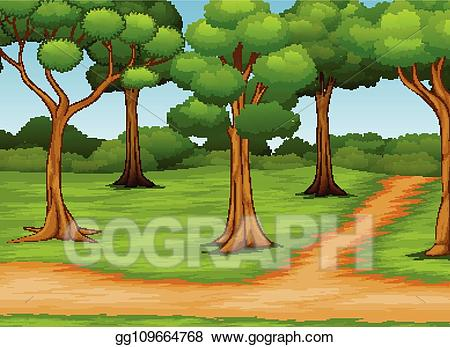 Road scene clipart jpg freeuse Vector Art - Cartoon of forest scene with dirt road. Clipart ... jpg freeuse
