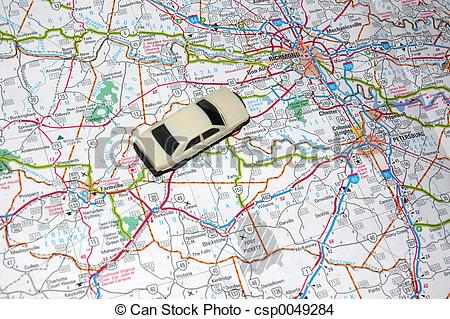Road trip map clipart vector library library Stock Photo of Road Trip - Map with a Model Car, Road Trip ... vector library library