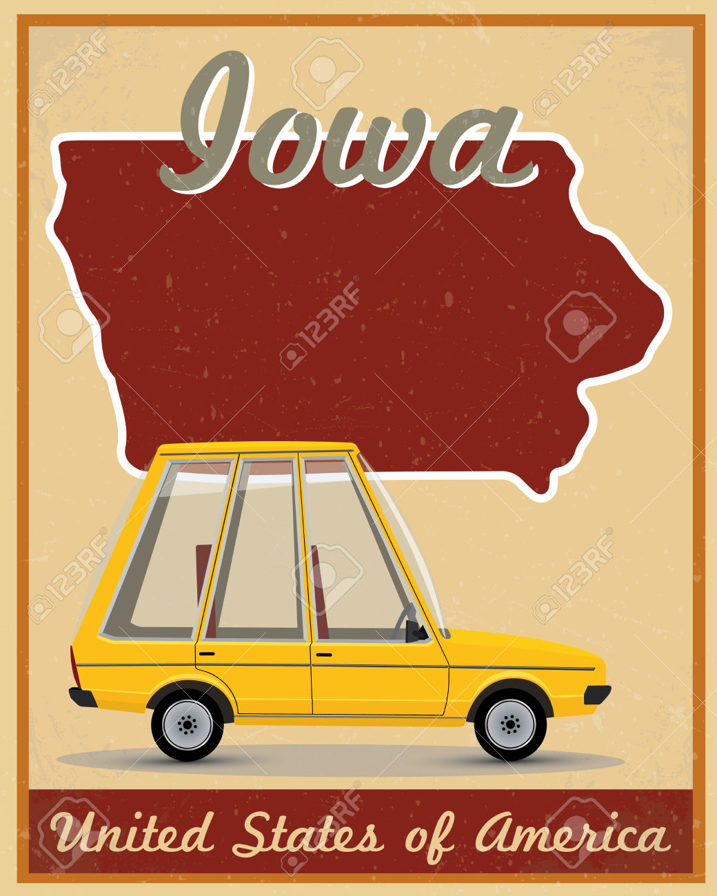 Road trip united states clipart vector royalty free download Iowa Road Trip Vintage Poster Royalty Free Cliparts, Vectors, And ... vector royalty free download