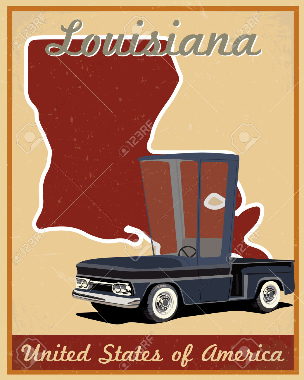 Road trip united states clipart vector free library Louisiana Road Trip Vintage Poster Royalty Free Cliparts, Vectors ... vector free library