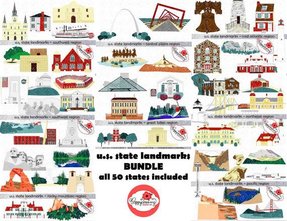 Road trip united states clipart clip art transparent download U.S. State Landmarks Mega Bundle Digital Clipart Pack 300 clip art transparent download