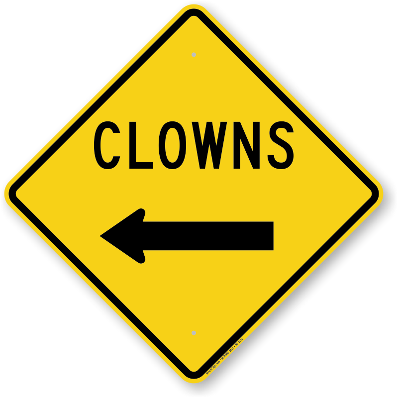 Road with an arrow clipart jpg transparent library Clowns With Left Arrow Funny Crossing Sign, SKU: K2-1575 jpg transparent library