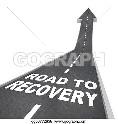 Road with an arrow clipart svg free library Stock Illustration - Road to recovery words on pavement - up arrow ... svg free library
