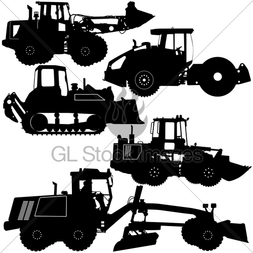 Road work machinery clipart clipart freeuse download Set Silhouettes Road Construction Equipment. Vector Illus ... clipart freeuse download