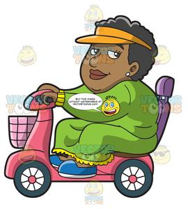 Roam clipart jpg An Overweight Black Woman On A Scooter Roaming Around The Area jpg