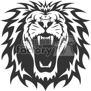 Lion head mascot clipart black and white clip lion head roaring vector design clipart. Royalty-free clipart # 403160 clip