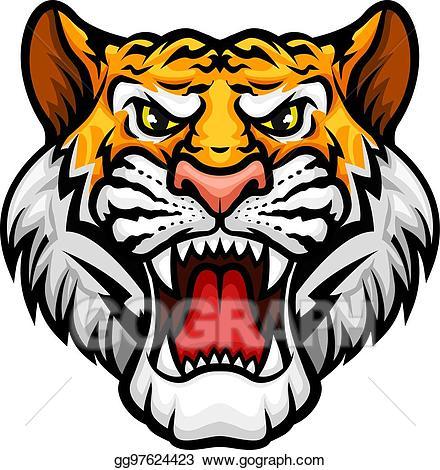 Roaring tiger head clipart clip royalty free library EPS Illustration - Tiger roaring head muzzle vector mascot ... clip royalty free library