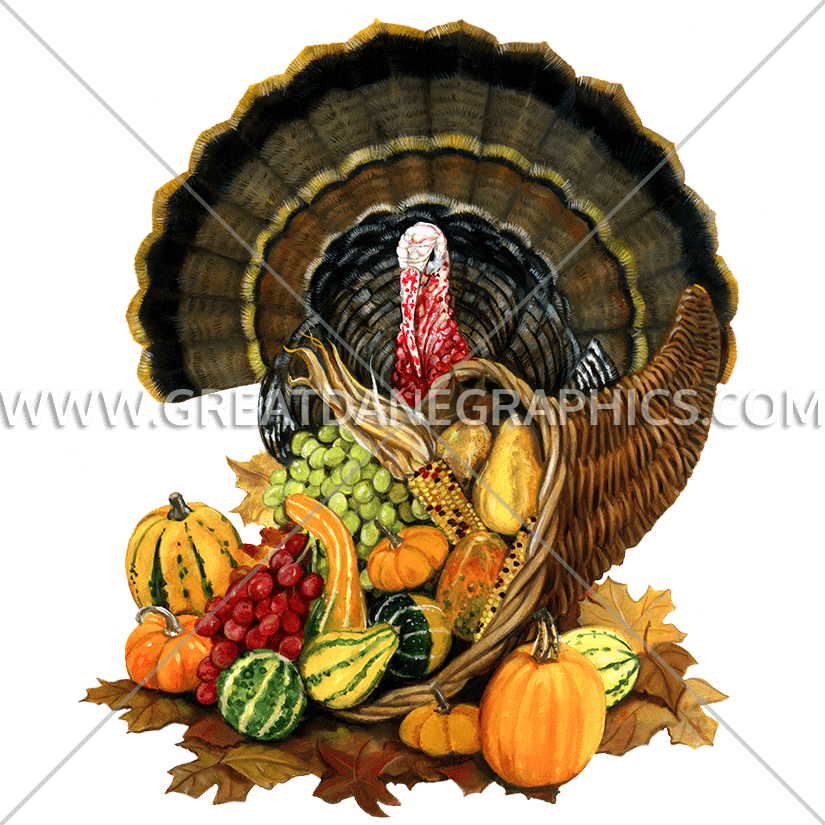Roasted holiday turkey clipart image royalty free Turkey & Cornucopia | Production Ready Artwork for T-Shirt Printing image royalty free