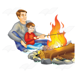 Roasted hot dogs campfire clipart vector Dad and Son, roasting hot dogs over the fire vector