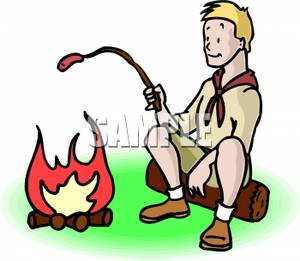Roasted hot dogs campfire clipart image free A Boy Scout Roasting a Hot Dog Over a Campfire Clipart Image image free