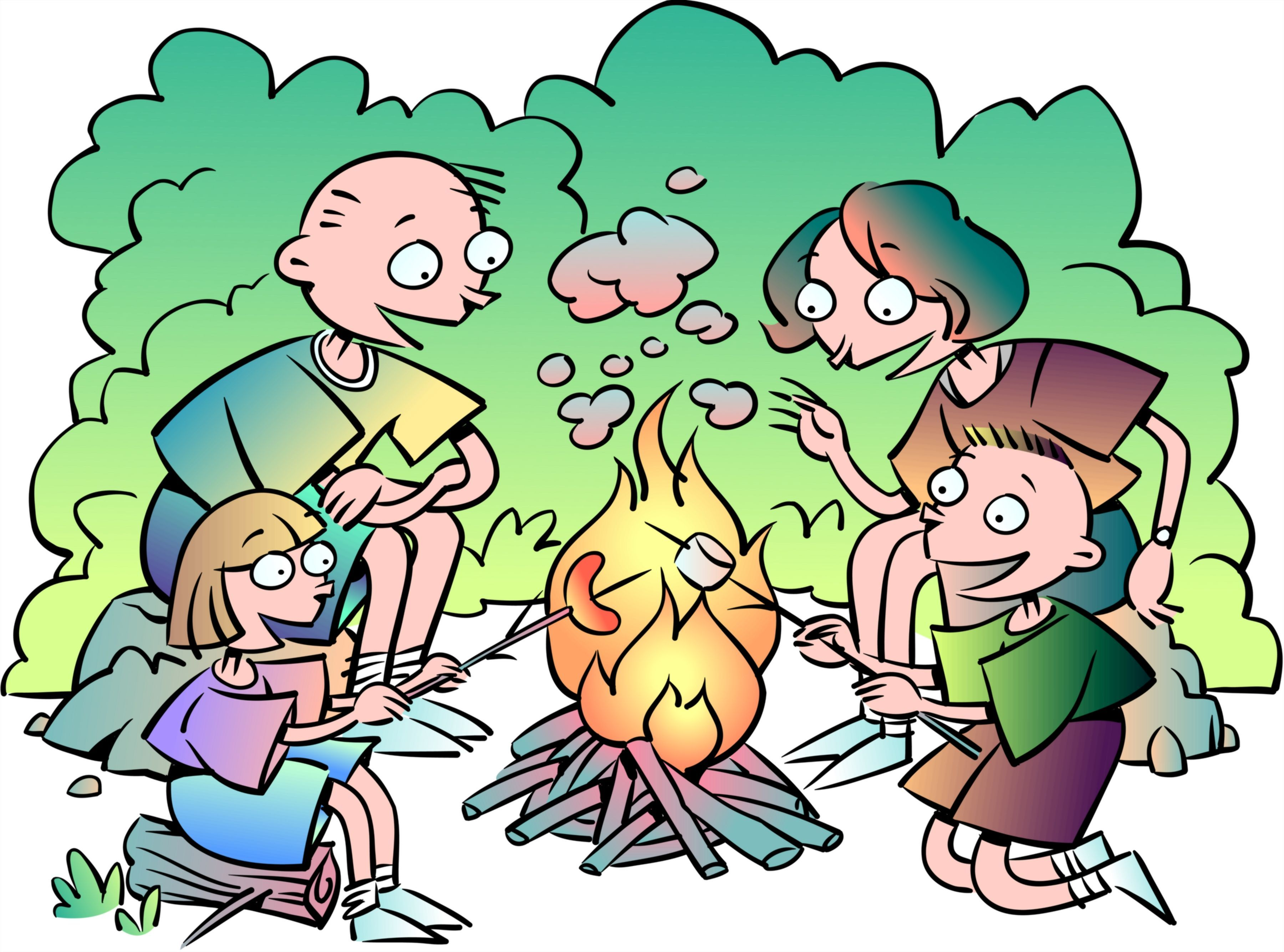 Roasting by campfire clipart clip art black and white stock Family at a campfire roasting marshmallows » Clipart Portal clip art black and white stock