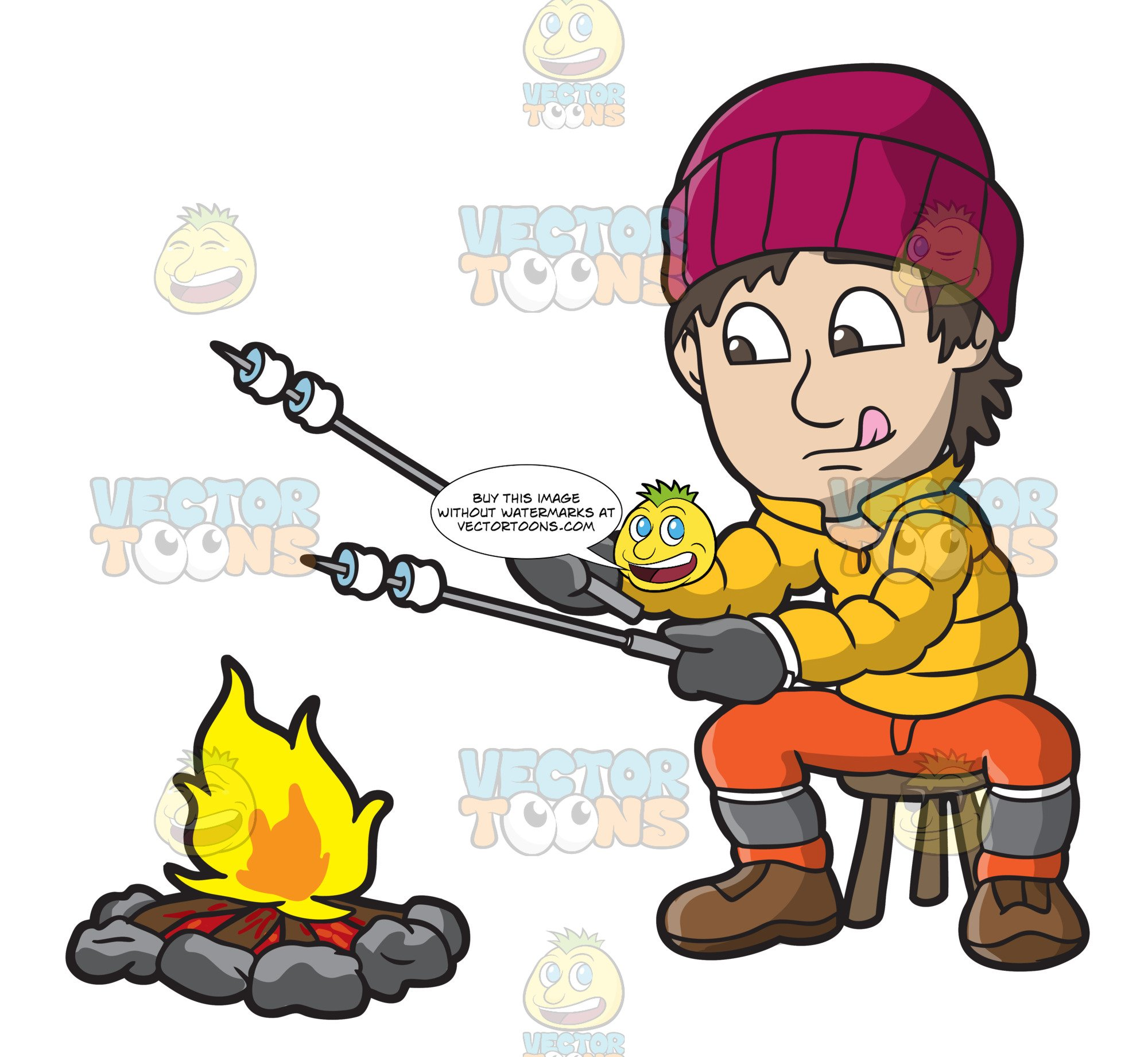 Roasting by campfire clipart vector black and white A Man Roasting Marshmallows Over A Campfire vector black and white