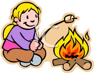 Roasting by campfire clipart image library library Little Girl Roasting Marshmallows Over a Campfire - Royalty ... image library library