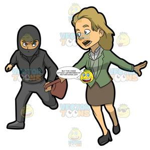 Robbed clipart graphic black and white A Woman Yells While Being Mugged graphic black and white