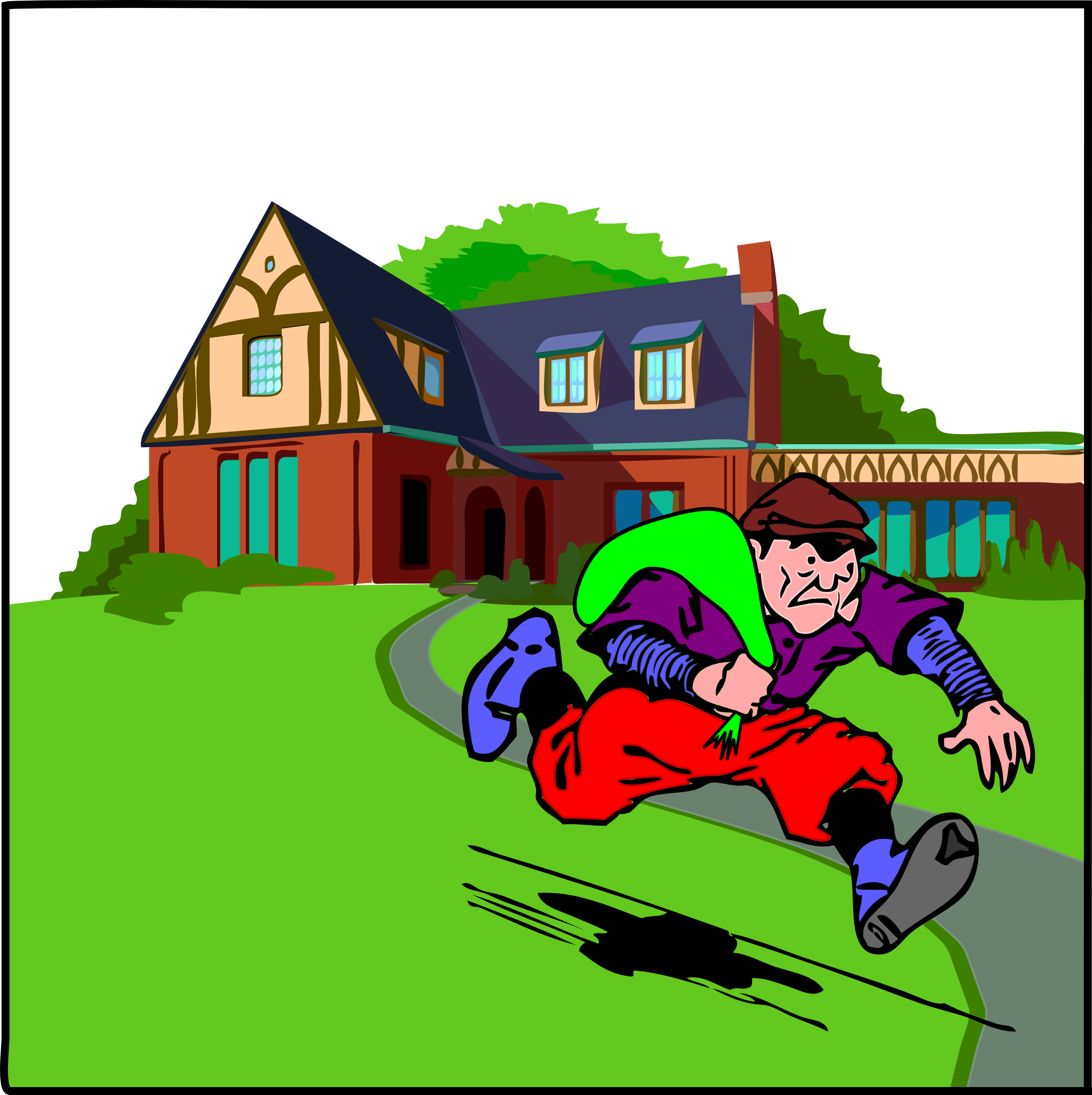 Robbed clipart vector library stock Thief robbed big house and running away clipart free image vector library stock