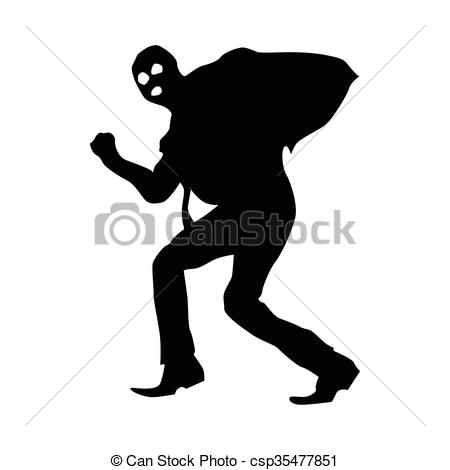 Robber background clipart svg black and white download Clipart Vector of Robber silhouette black isolated on white ... svg black and white download