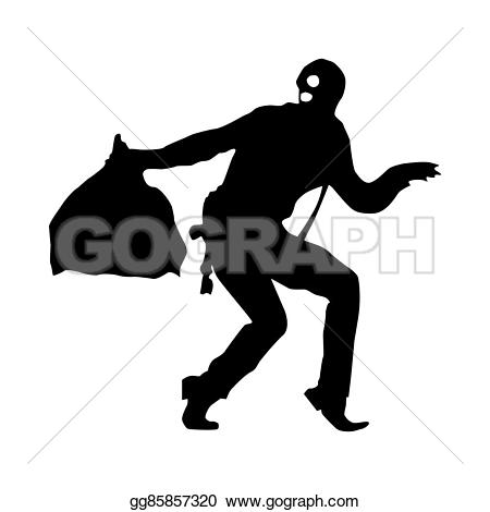 Robber background clipart image black and white stock Stock Illustration - Robber silhouette black. Clipart Drawing ... image black and white stock
