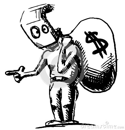 Robber background clipart clipart black and white stock Robber In A Mask And With Money Bag Royalty Free Stock Photo ... clipart black and white stock