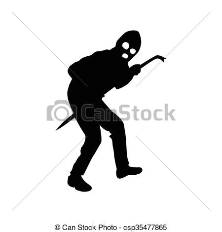 Robber background clipart image black and white stock Clip Art Vector of Robber silhouette black isolated on white ... image black and white stock