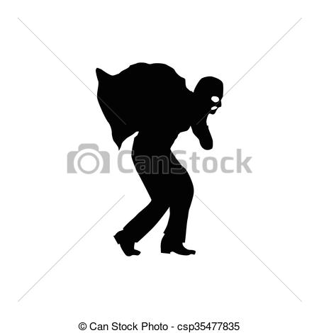 Robber background clipart graphic royalty free download Vectors of Robber silhouette black isolated on white background ... graphic royalty free download