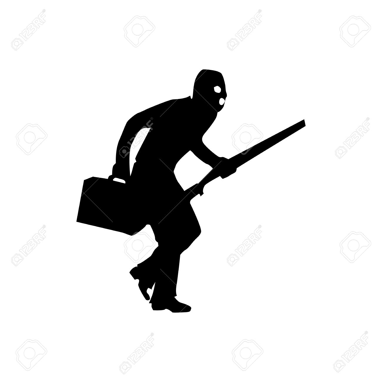 Robber background clipart clipart black and white Robber Silhouette Black Isolated On White Background Royalty Free ... clipart black and white