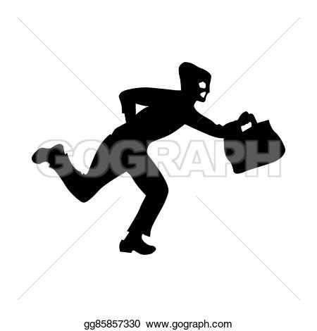 Robber background clipart vector free Stock Illustration - Robber silhouette black. Clipart Drawing ... vector free