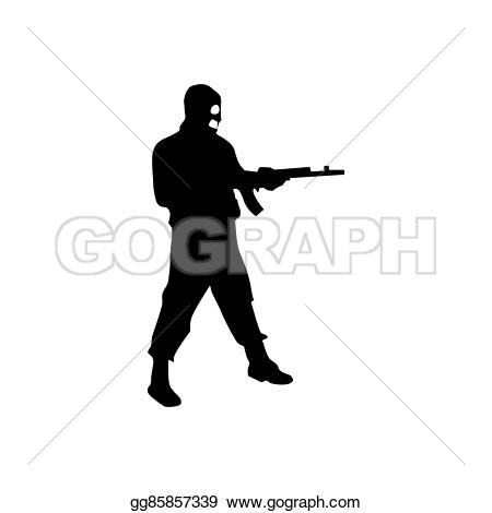 Robber background clipart jpg free library Stock Illustration - Robber silhouette black. Clipart Drawing ... jpg free library