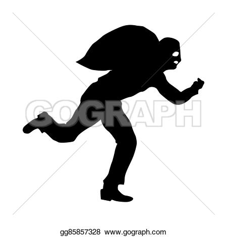 Robber background clipart picture free library Stock Illustration - Robber silhouette black. Clipart Drawing ... picture free library