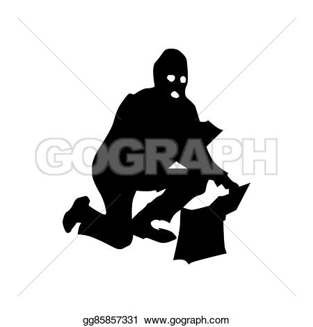 Robber background clipart svg free Stock Illustration - Robber silhouette black. Clipart Drawing ... svg free