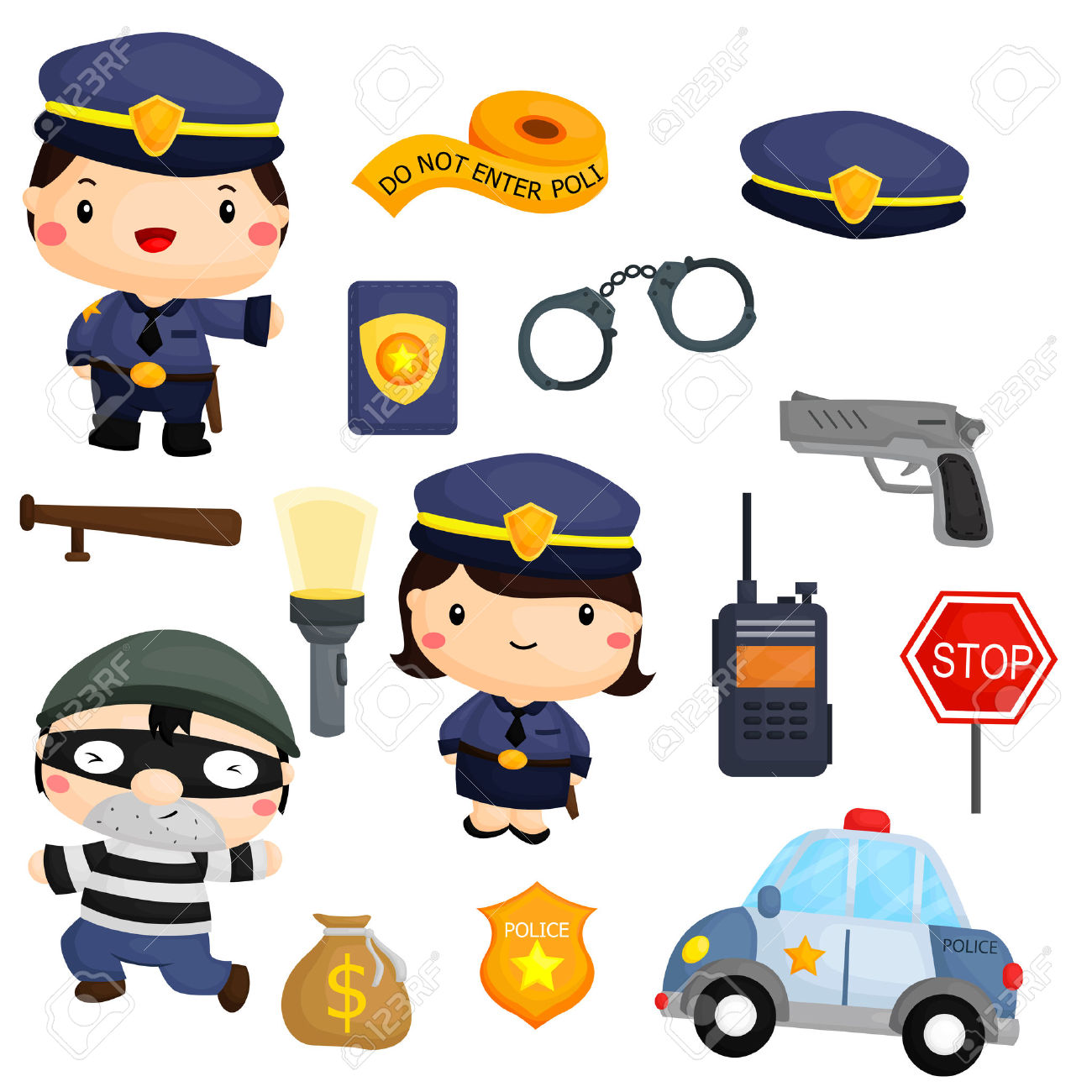 Robber in cop car clipart jpg transparent library Police And Robber Vector Set Royalty Free Cliparts, Vectors, And ... jpg transparent library