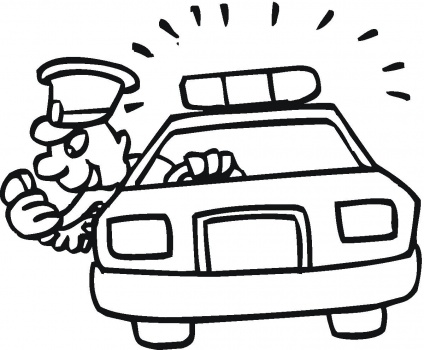 Robber in cop car clipart image black and white library Policeman Is Pursuiting Robber coloring page | Police Car Coloring ... image black and white library