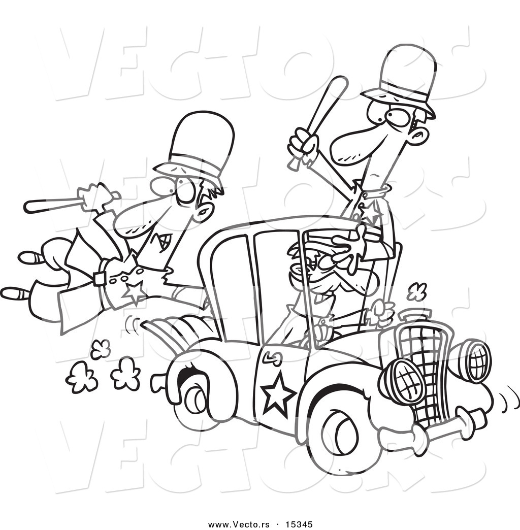 Robber in cop car clipart banner freeuse library Vector of a Cartoon Thief Stealing a Police Car - Coloring Page ... banner freeuse library
