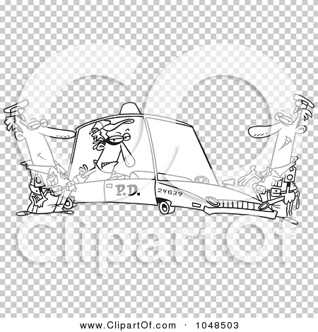 Robber in cop car clipart image free stock Royalty-Free (RF) Clip Art Illustration of a Cartoon Black And ... image free stock