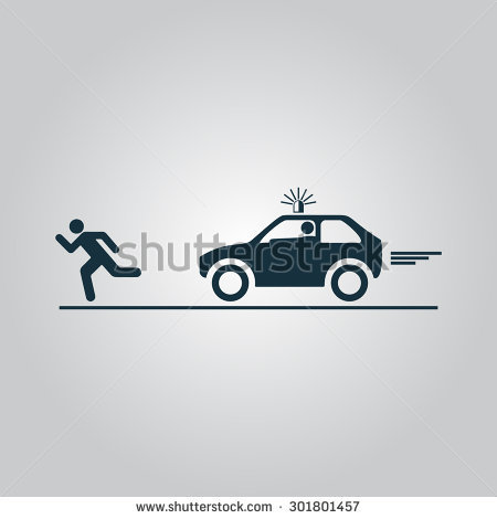 Robber in cop car clipart image black and white download Robber Police Car Flat Web Icon Stock Vector 301215167 - Shutterstock image black and white download