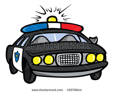 Robber in cop car clipart