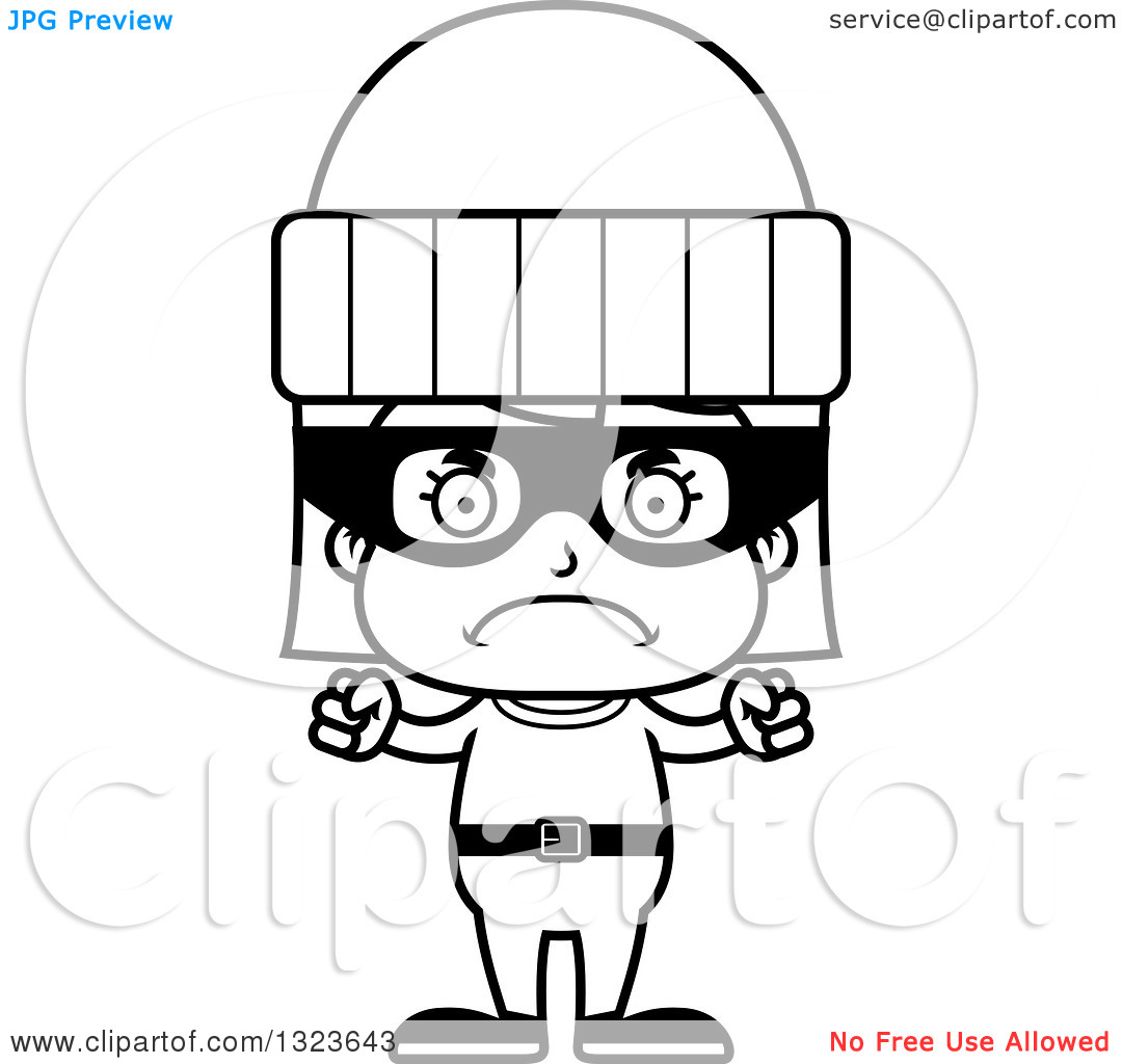 Robber outline clipart jpg free download Outline Clipart of a Cartoon Black and White Mad Girl Robber ... jpg free download