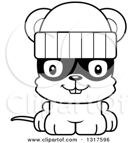 Robber outline clipart clipart free Animal Lineart Clipart of a Cartoon Black and WhiteCute Happy ... clipart free