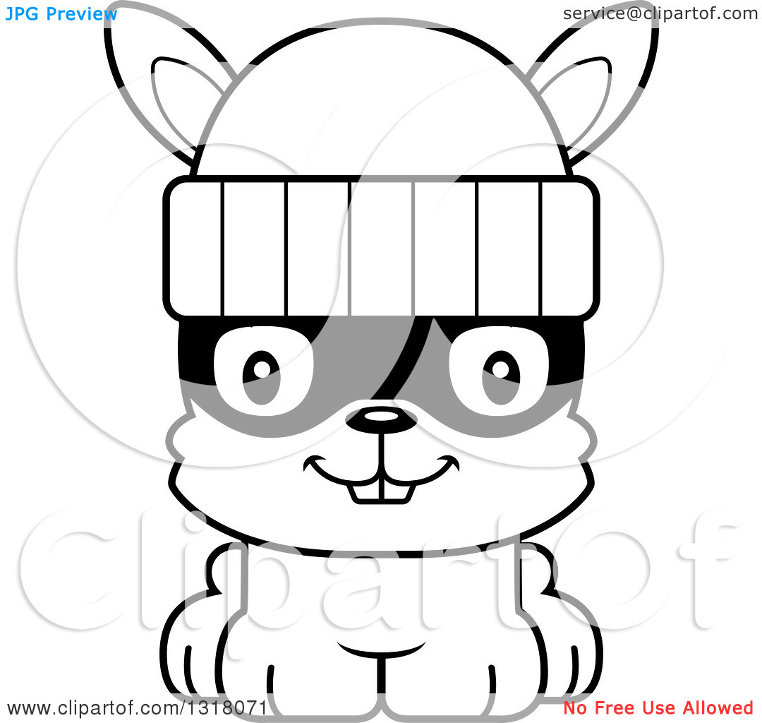 Robber outline clipart clip free Animal Lineart Clipart of a Cartoon Black and White Cute Happy ... clip free