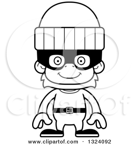 Robber outline clipart clip library stock Lineart Clipart of a Cartoon Black and White Happy Orangutan ... clip library stock