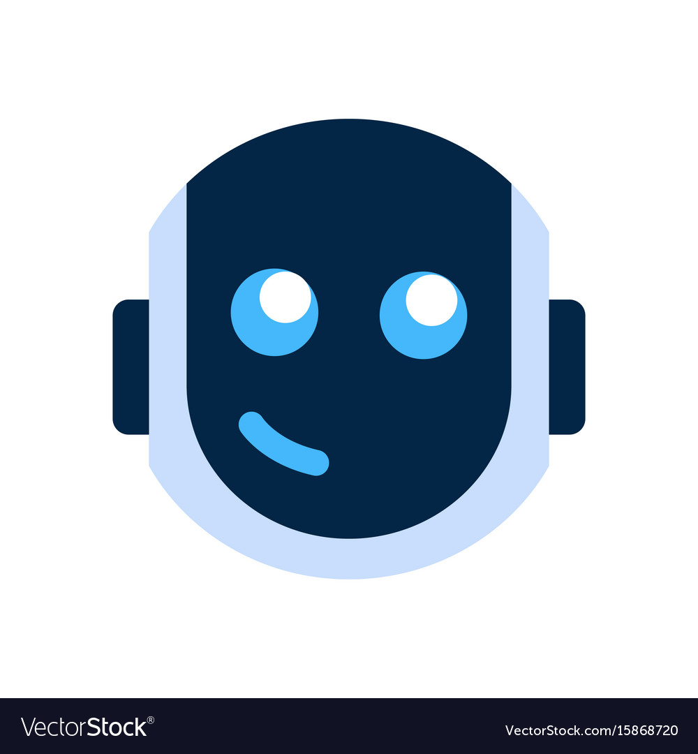 Robot half face clipart banner free download Robot face icon smiling face emotion robotic emoji banner free download