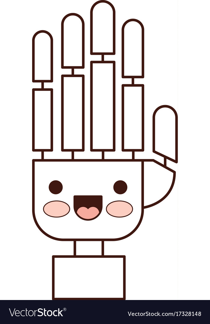 Robot hand clipart png free library Robot hand cartoon kawaii in monochrome silhouette png free library