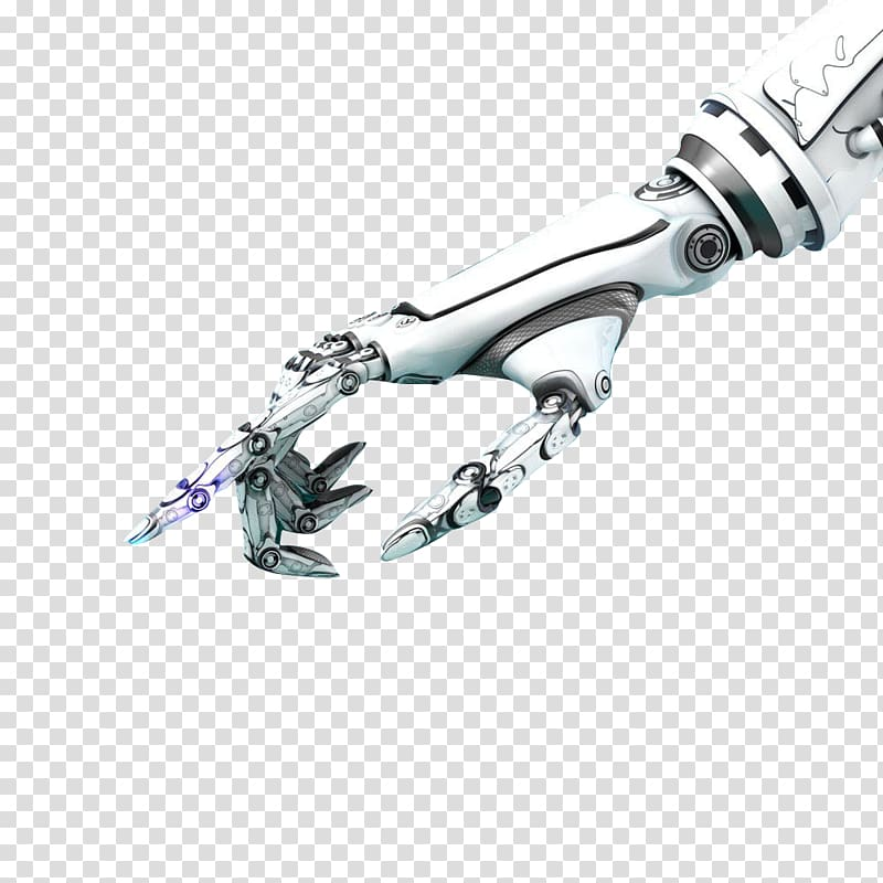 Robot hand clipart vector library White and gray robot hand pointing its index finger, Robot ... vector library