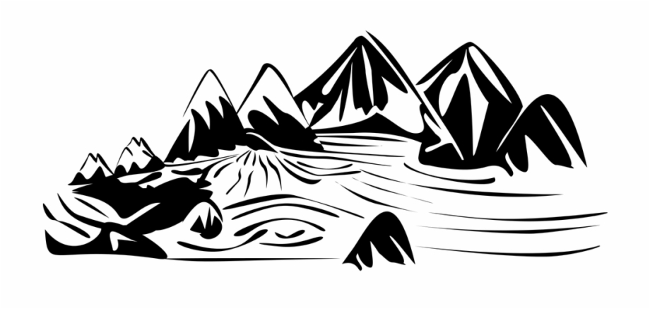 Rock and mountains black and white clipart svg library library Lake Landscape Mountain River Rocks Rocky View - River Black ... svg library library