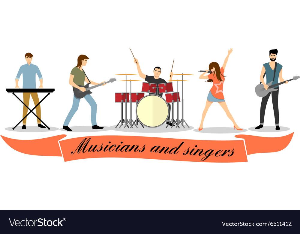 Rock band singer clipart jpg transparent library Musicians and singers set Rock band jpg transparent library