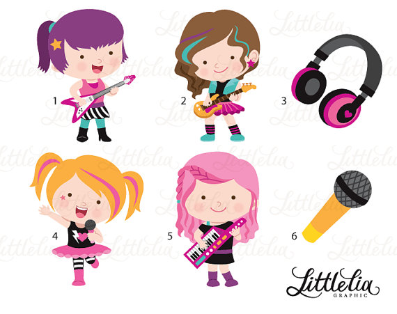 Rock chick clipart picture freeuse stock Rock star girls clipart - music clipart - 16098 | Products ... picture freeuse stock