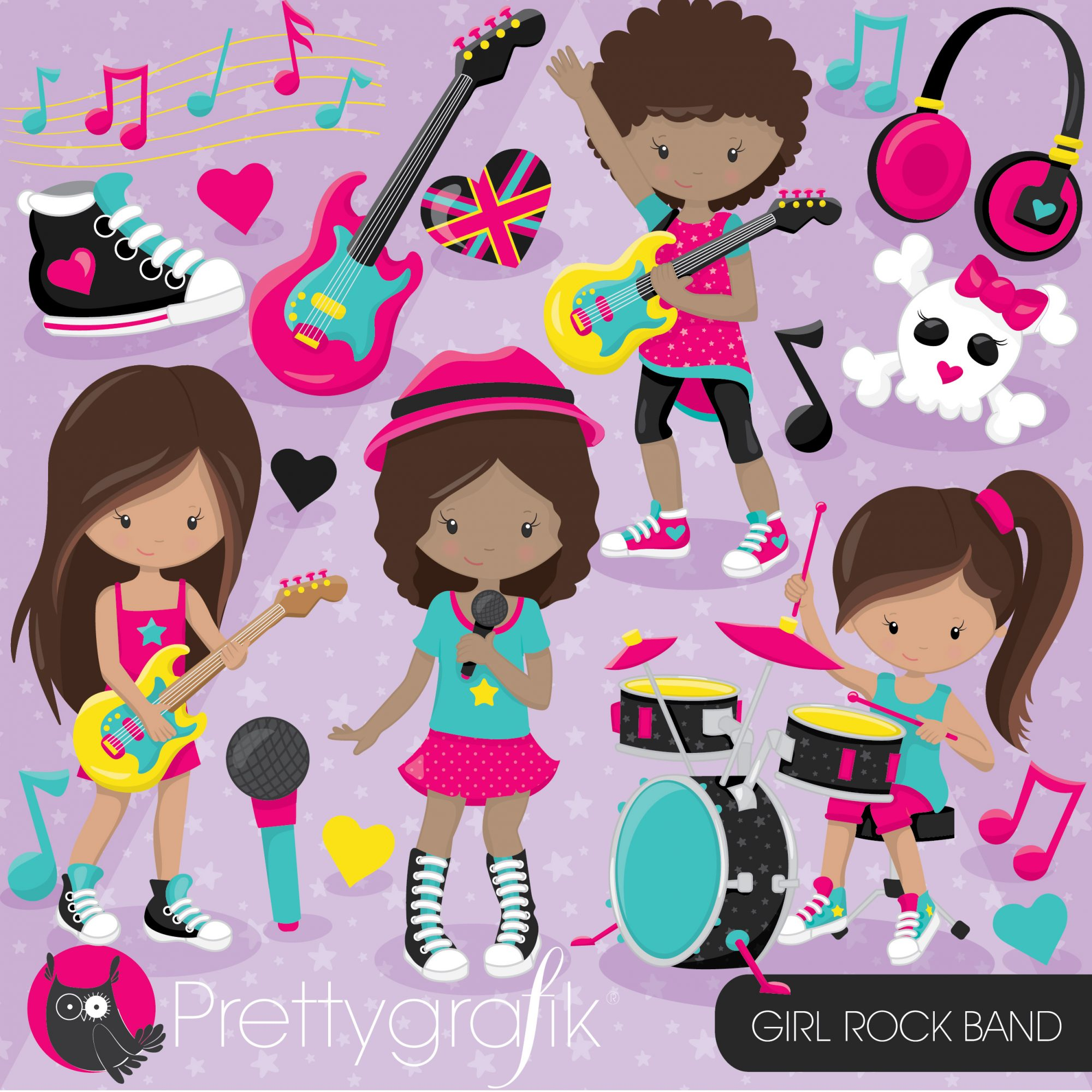 Rock chick clipart jpg free library Girl rock band clipart jpg free library