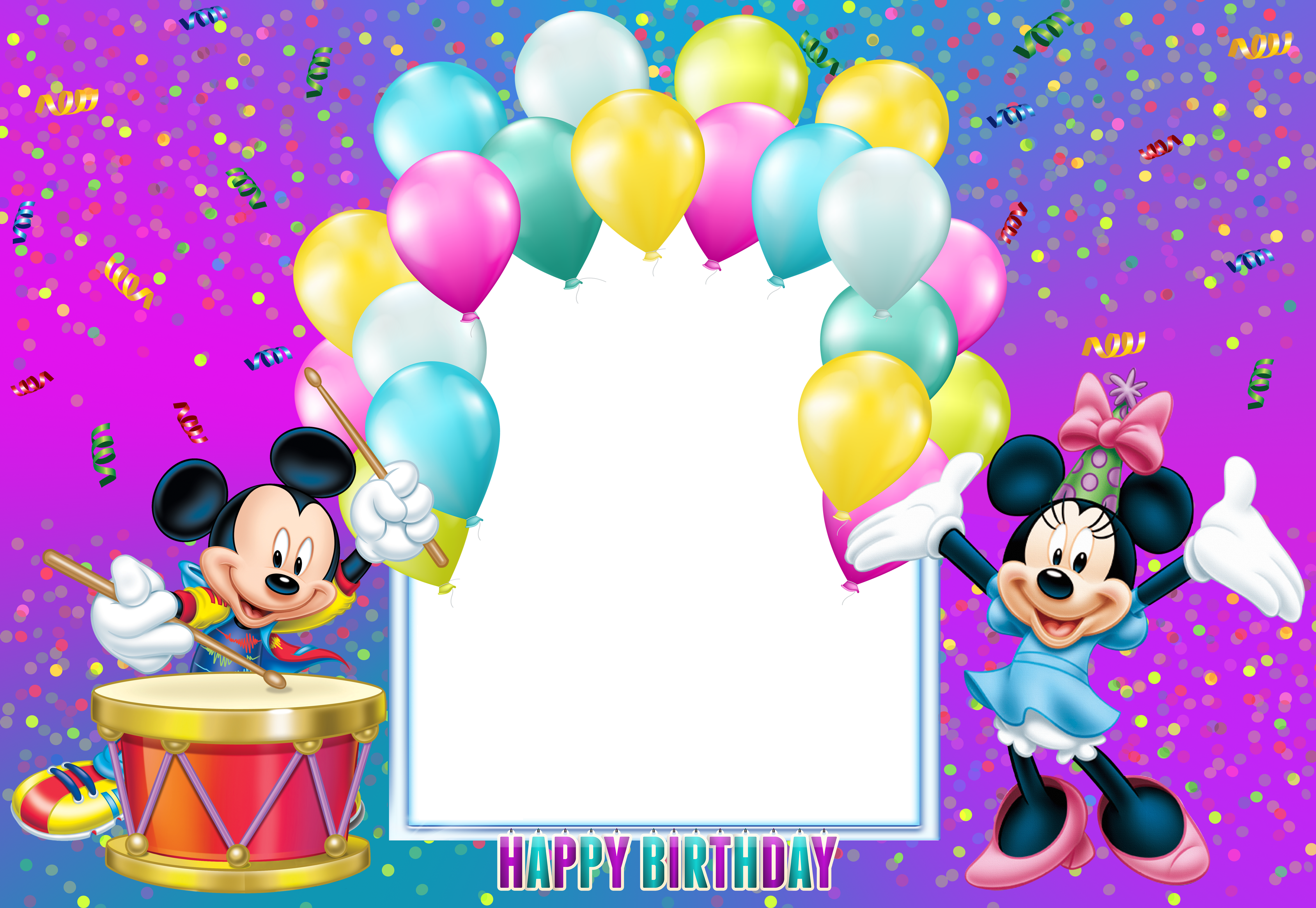 Happy Birthday Mickey Mouse Transparent Kids Frame | Gallery ... graphic freeuse stock