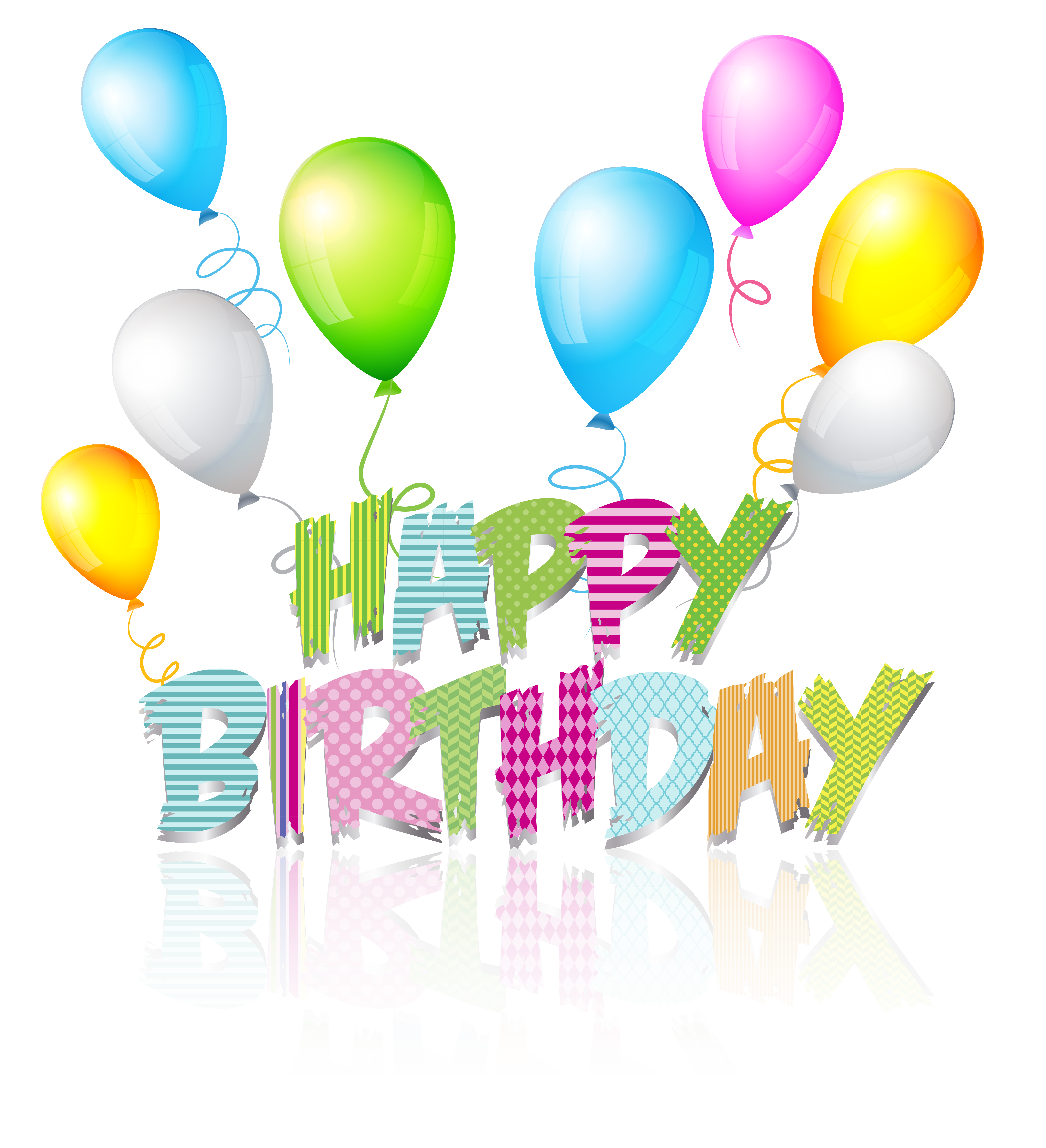 Party Coloured Happy Birthday Text PNG Clip Art Image | Gallery ... vector black and white stock