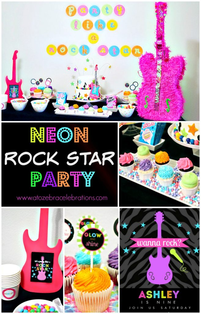 Rock star party clipart graphic library Neon Rock Star Birthday Party – Style with Nancy graphic library