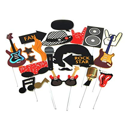Rock star party clipart vector download Rock Star Party Photo Booth Props Western Society Culture Jazz Music Party  Decorations Accessories 18 Pieces SUNBEAUTY vector download